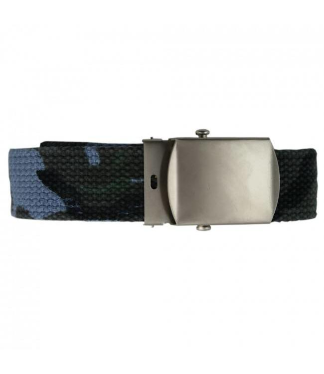 Tropenkoppel schuifriem met chrome buckle, 30mm sky blue camo