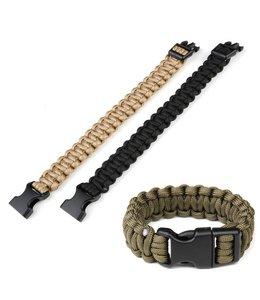 Paracord armband K2016B 8 inch Zwart