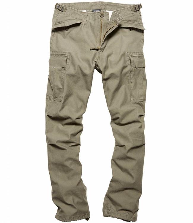 Vintage Industries M65 heavy satin pants olive cargo broek