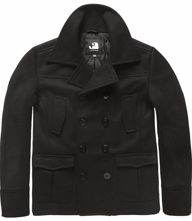 Vintage Industries Coast peacoat winterjas black