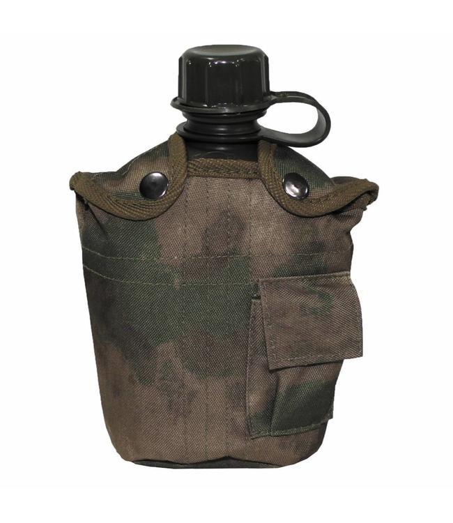 US veldfles,  1 l, cover, HDT camouflage Groen