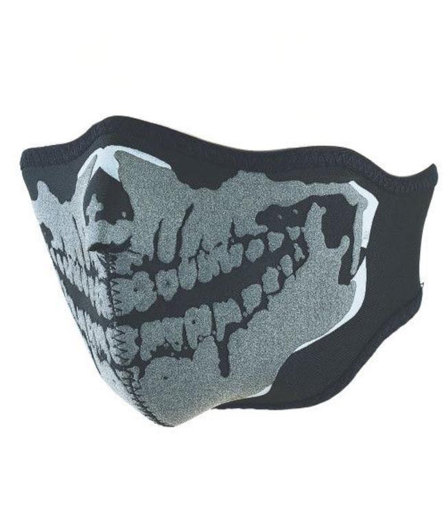 Motor masker 3D doodskop skelet print Zwart