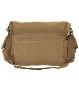 """Bag, canvas, """"PT"""", brown, with shoulder strap"""