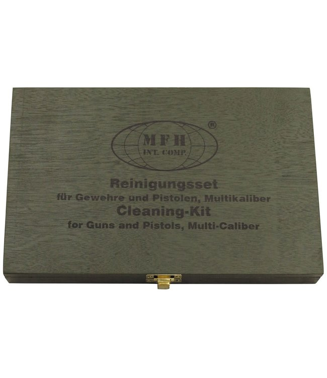 Cleaning Kit, universal, for gun/pistol, wooden box