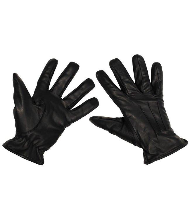 Lederen handschoenen, Zwart, cut resisting kevlar inlays