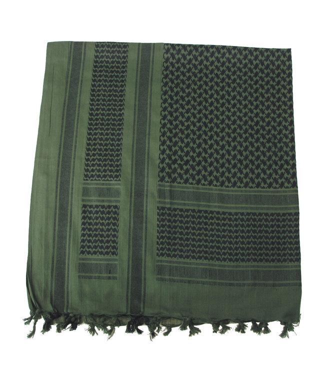 Shemagh (PLO sjaal), fringed, OD Groen-Zwart
