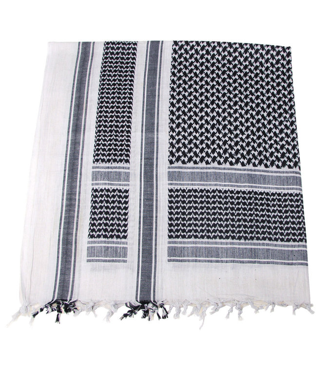 Shemagh (PLO sjaal), Zwart-white, fringed