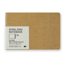Traveler's Company - SPIRAL RING NOTEBOOK B6 BLANK MD PAPER WHITE 100 SHEETS (200 PAGES)