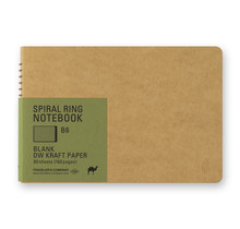 Traveler's Company - SPIRAL RING NOTEBOOK B6 BLANK DW KRAFT PAPER 80 SHEETS (160 PAGES)