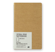 Traveler's Company 15245006 SPIRAL RING NOTEBOOK A5 SLIM BLANK MD PAPER WHITE 100 SHEETS (200 PAGES)