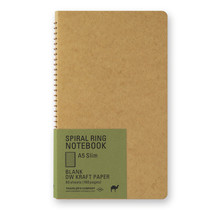 Traveler's Company - SPIRAL RING NOTEBOOK A5 SLIM BLANK DW KRAFT 80 SHEETS (160 PAGES)