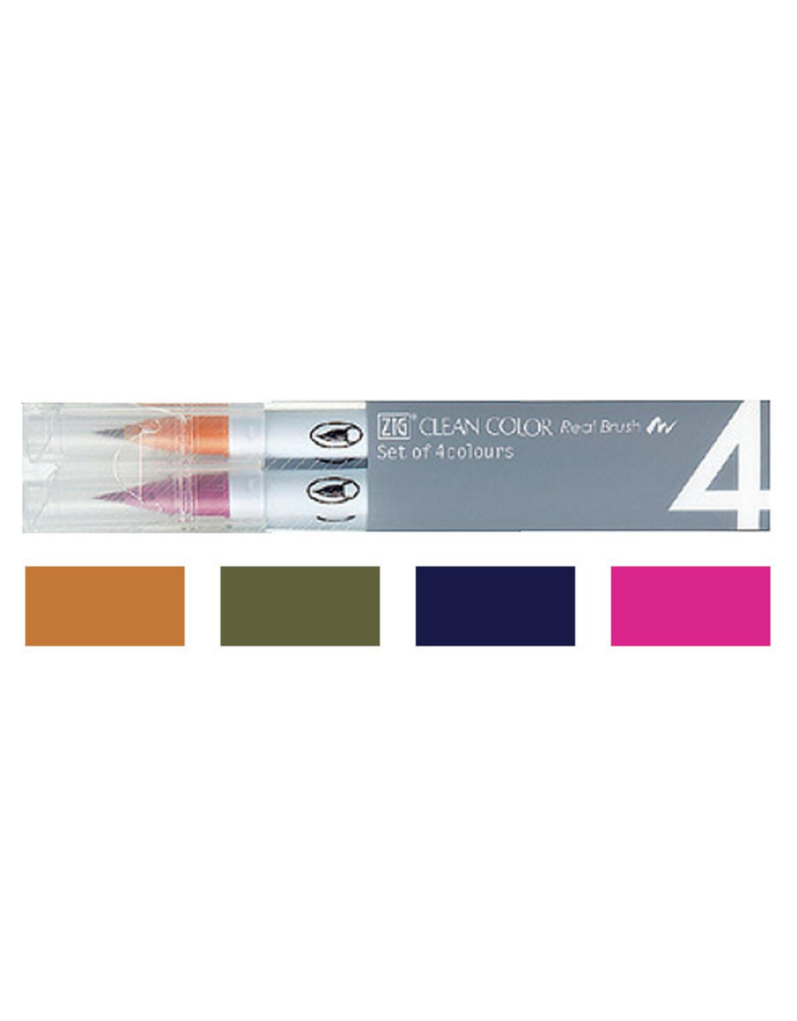 Kuretake Co., Ltd. ZIG CLEAN COLOR REAL BRUSH 4V DEEP COLOR