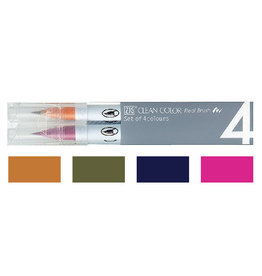 Kuretake Co., Ltd. ZIG CLEAN COLOR REAL BRUSH 4V DEEP COLOR