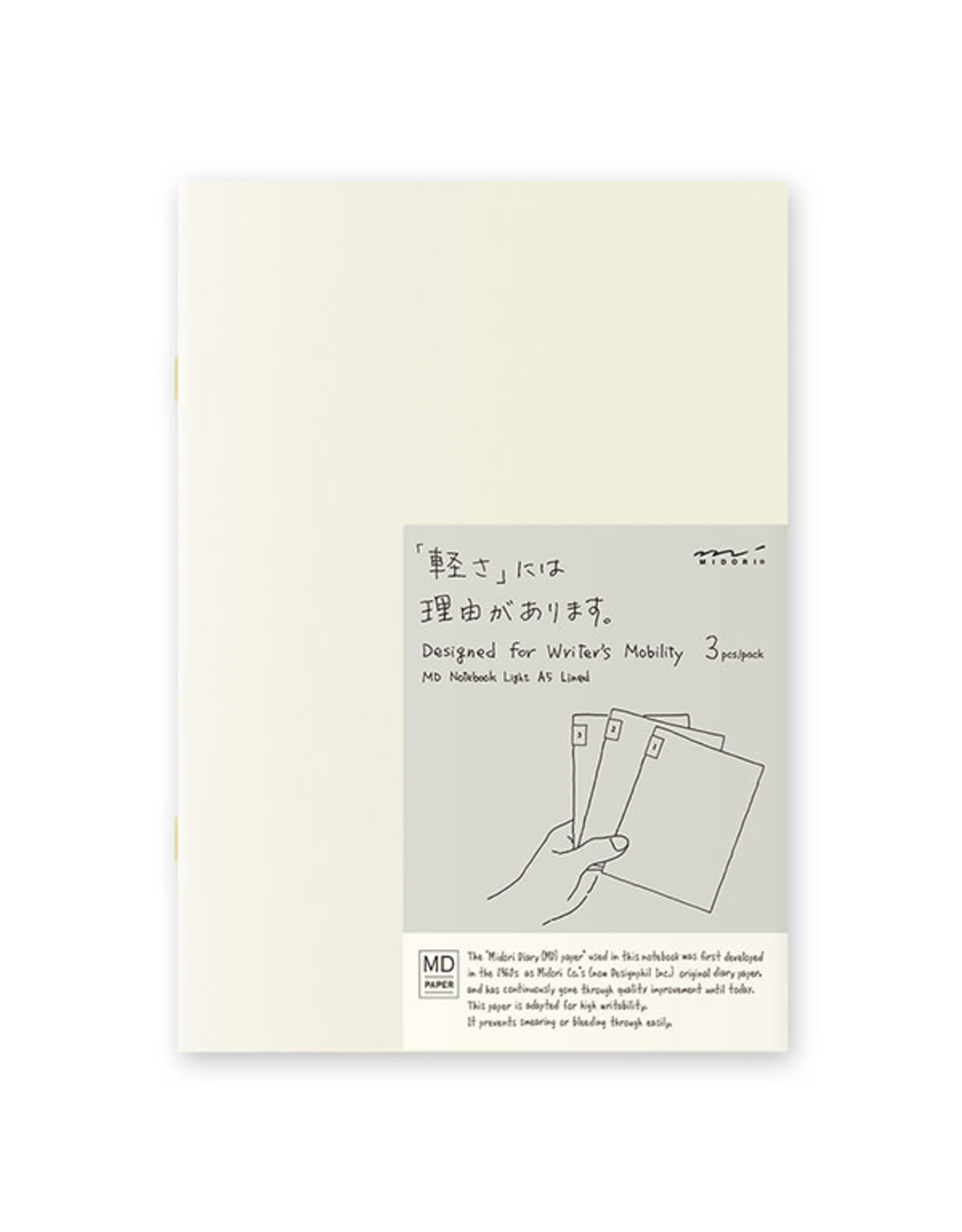 Designphil Inc. MD NOTEBOOK LIGHT  LINED 3PCS PACK ENGLISH CAPTION A5