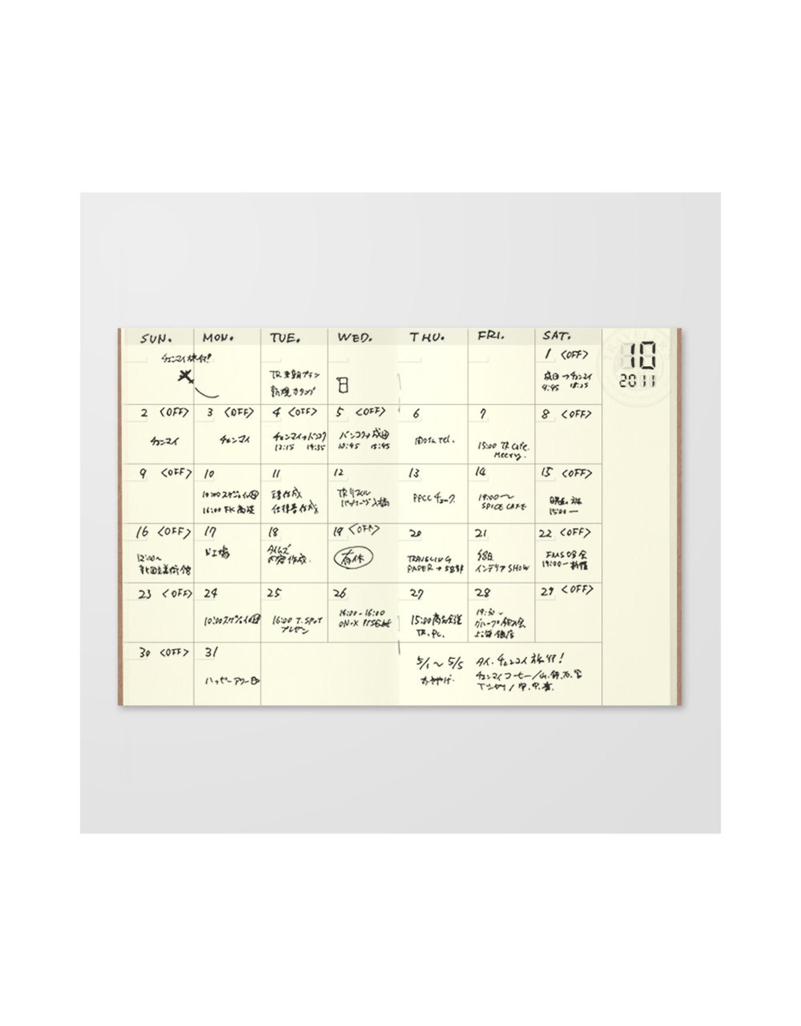 Traveler's Company 006. FREE DIARY MONTHLY MIDORI TRAVELER'S NOTEBOOK PASSPORT SIZE