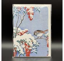 Ezen Designs  GREETING CARD SPARROWS ON NANDINA