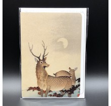 TWO DEER AND MAPLE GREETING CARD