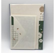 NIHONBASHI IBASEN - LETTER SET SAKURA GREEN&GOLD