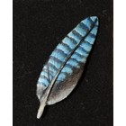 Brooch, wood carving feather of jay