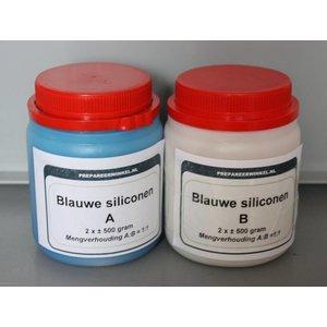 Blauwe siliconen component A en B, samen 1 kg