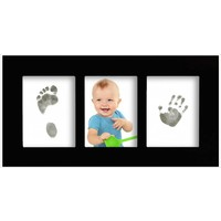 Cadre de galerie pour bébé avec Magic Footprints Special Set pour d'empreintes de pieds et de mains en noir
