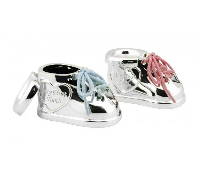 Caja primer diente y primer rizo Zapato con cordones en dos colores