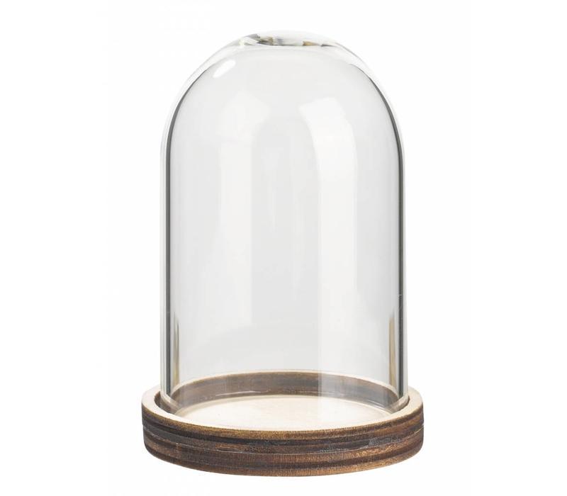 Campana in vetro con ripiano in legno