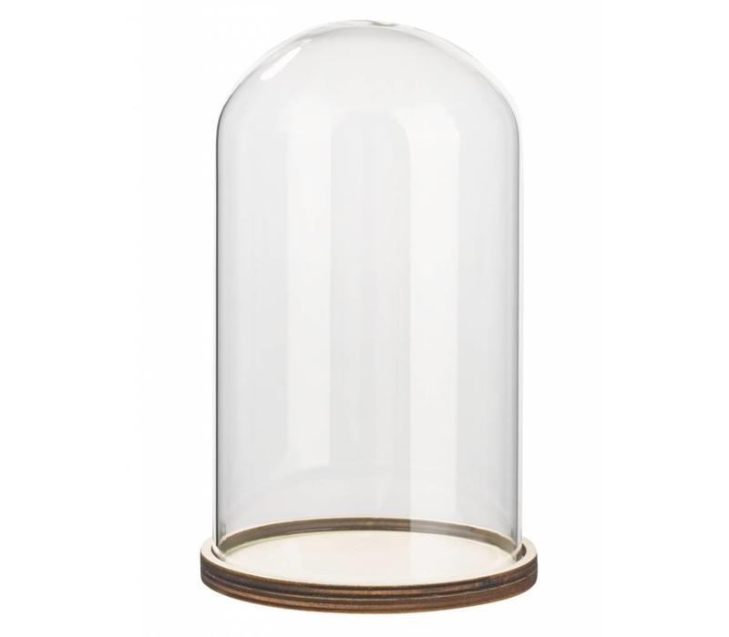 Cloche à verre avec étagère en bois