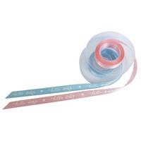 Gavebånd med indtryk Hello Baby i farverne lys blå / lyserød i forskellige længder af polyester - 15 mm bred