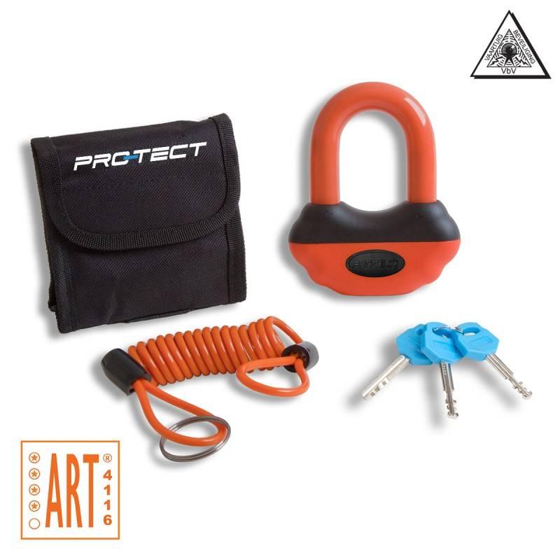 Topaz ART-4 schijfremslot oranje met reminderkabel en tas