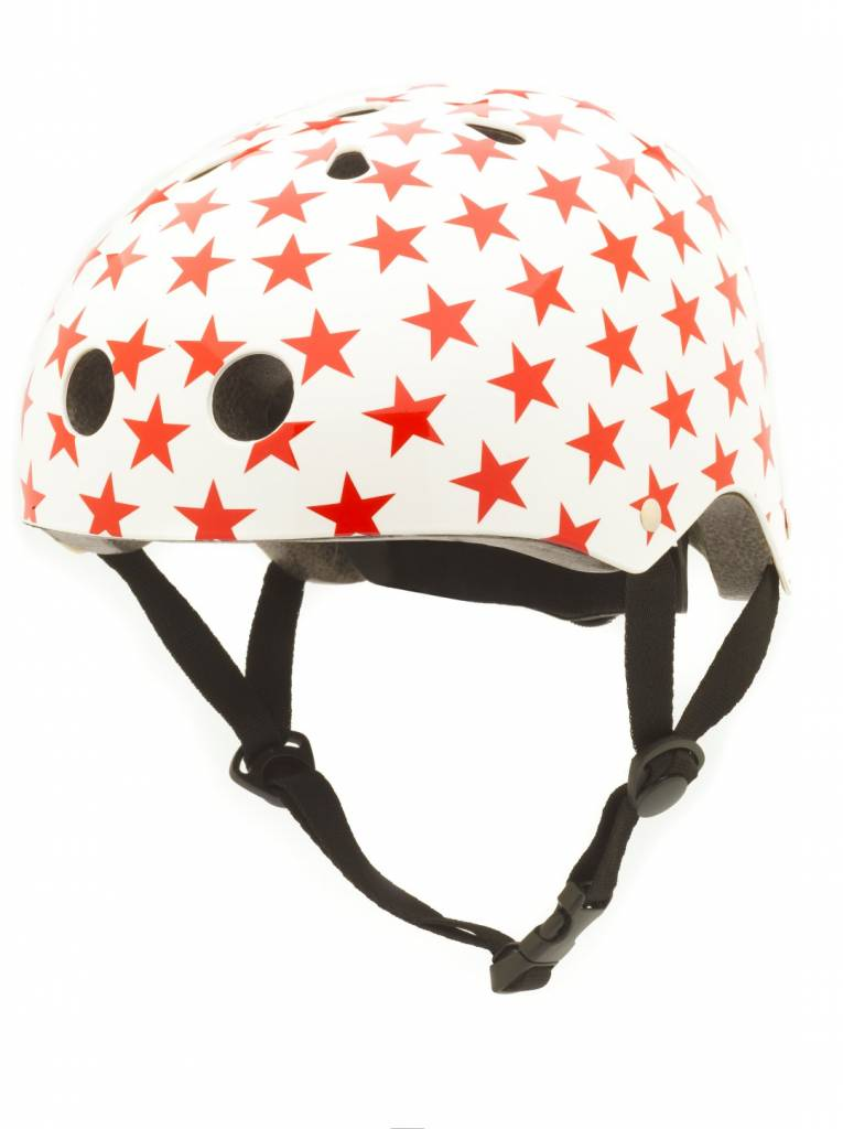 Kinderhelm White With Red Stars Small