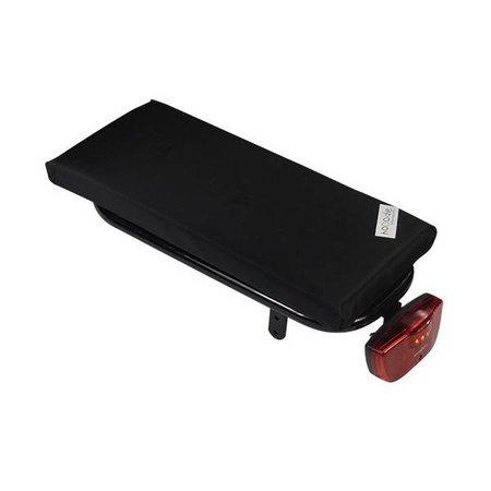 Hooodie Cushie Black Solid - zacht fietskussentje voor op bagagedrager in effen zwart
