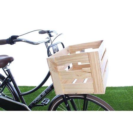 Willex Houten fietskrat Naturel met bloemmotief in rood 33L
