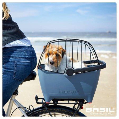 Basil Hondenfietsmand Buddy Faded Denim - met kussen, riem en beugel - ook ideaal voor de kat!