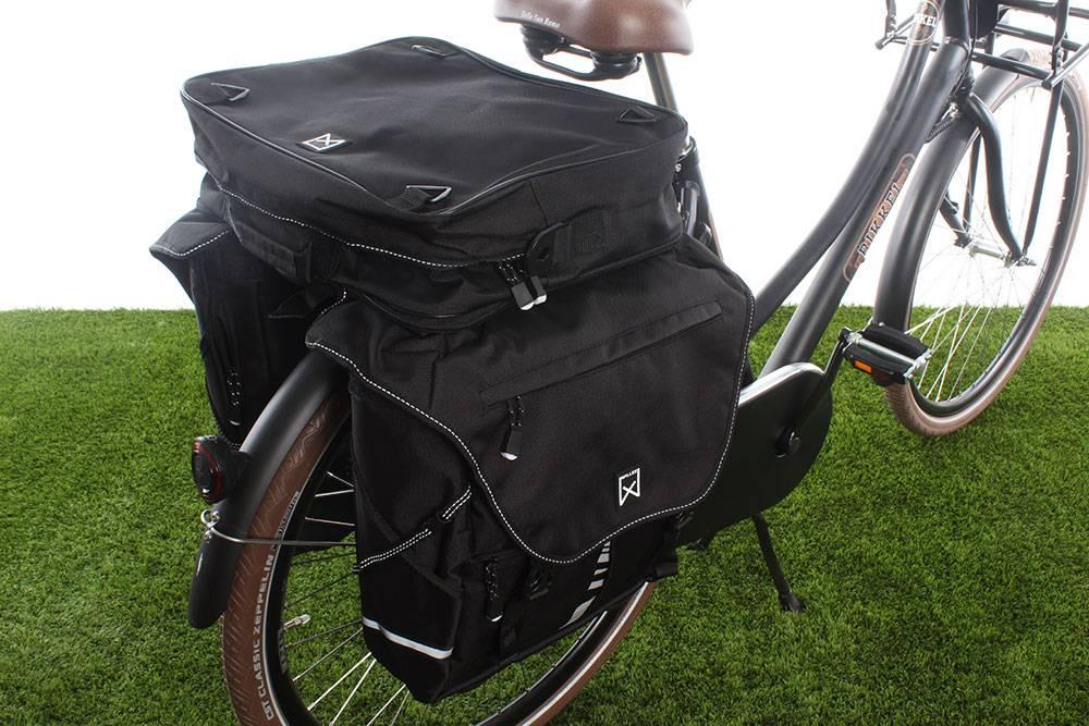 Dubbele fietstas Bagagetas XL 1200 Bovenvak Zwart