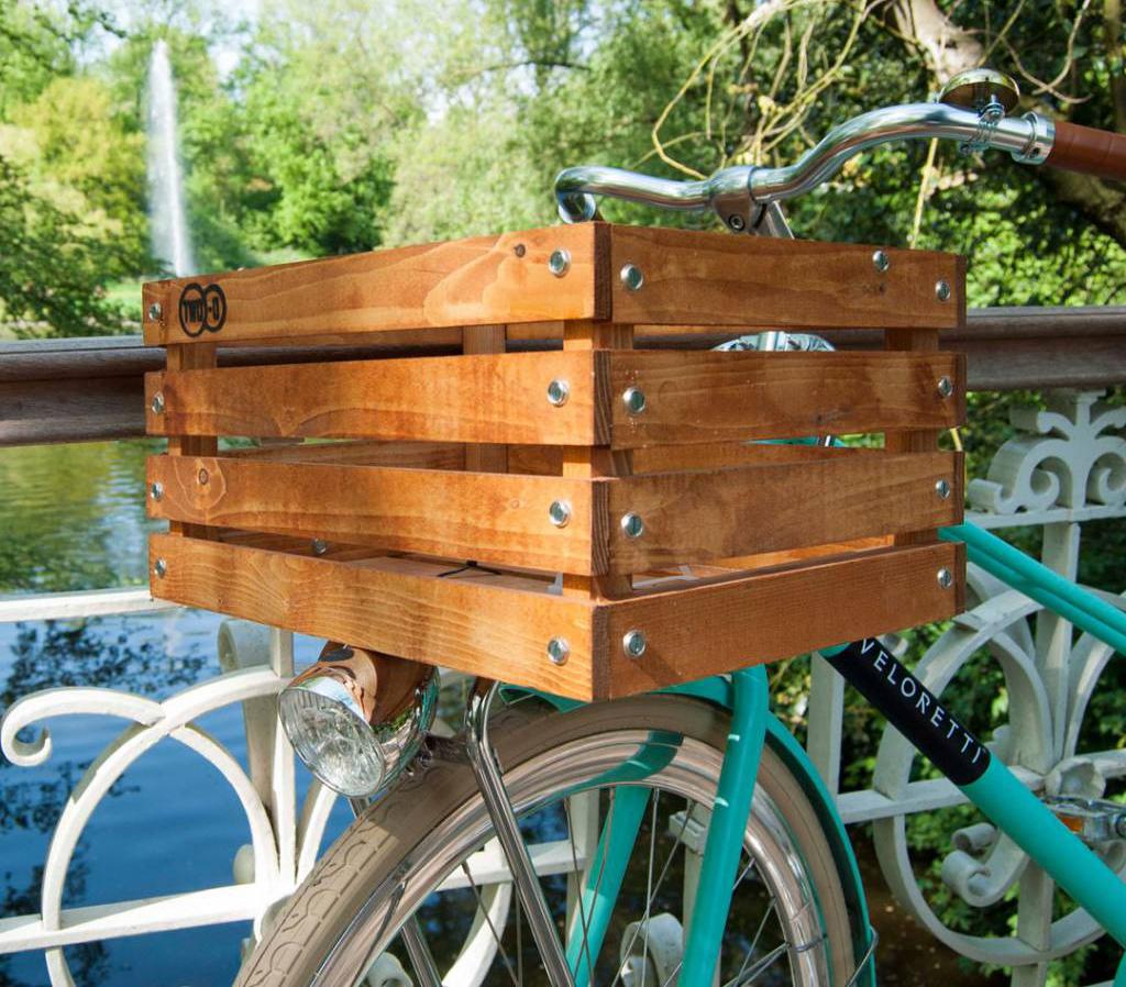 Two-O houten fietskrat met bekerhouder