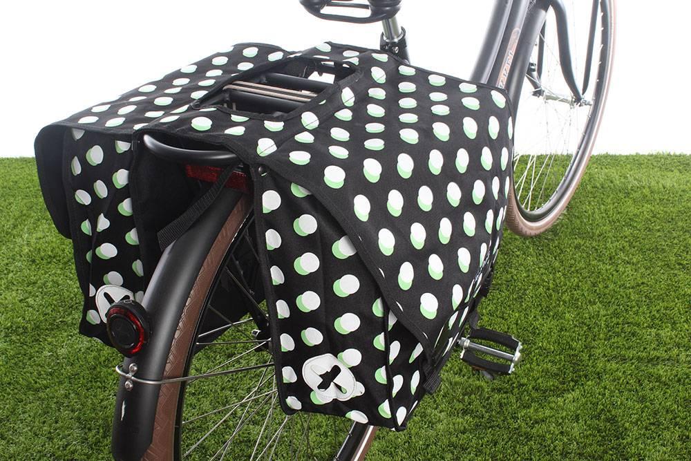 Dubbele fietstas 40L Stippen Zwart