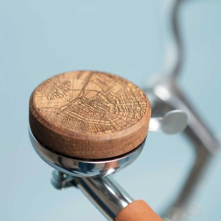 TWO-O Fietsbel Bella - houten fietsbel Amsterdam grachtengordel - walnotenhout!
