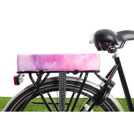 Hooodie Big Cushie Watercolors - zacht en vrolijk fietskussen voor op bagagedrager