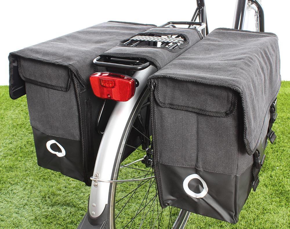Dubbele fietstas Canvas Tas Plus 48L Zwart