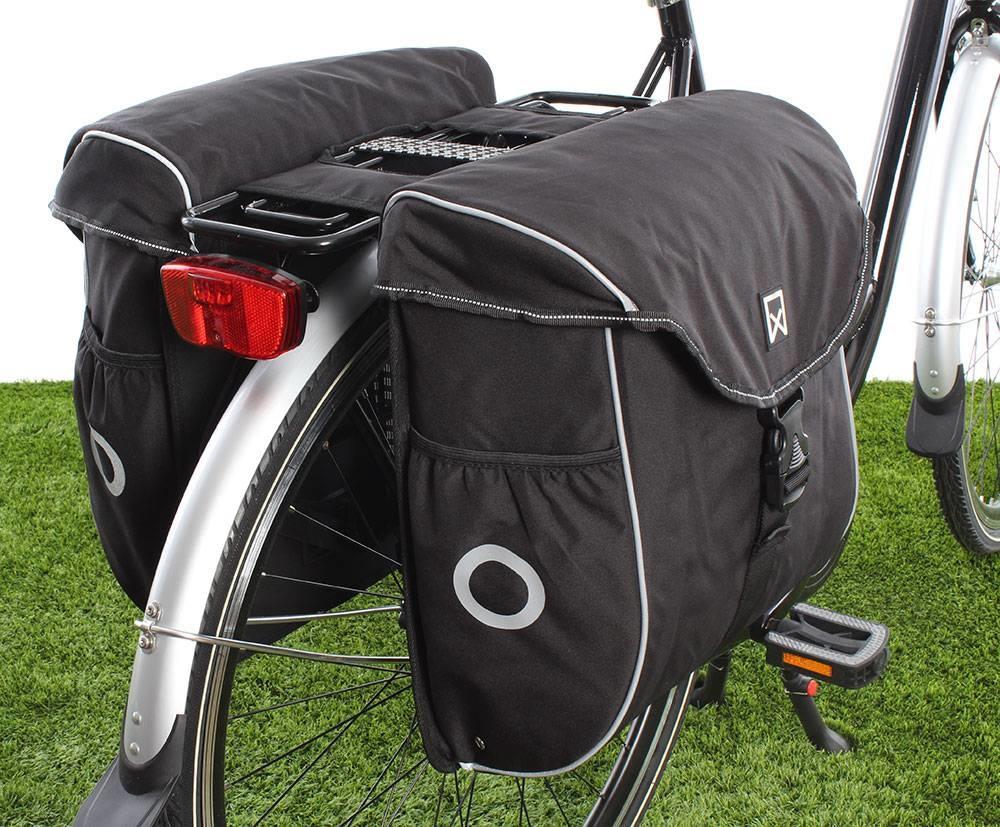 Dubbele fietstas Bagagetas 300 38L Zwart/zilver
