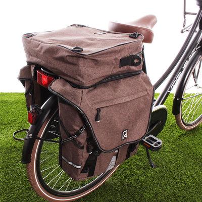 Willex Dubbele fietstas Bagagetas XL 1200 Bovenvak Bruin