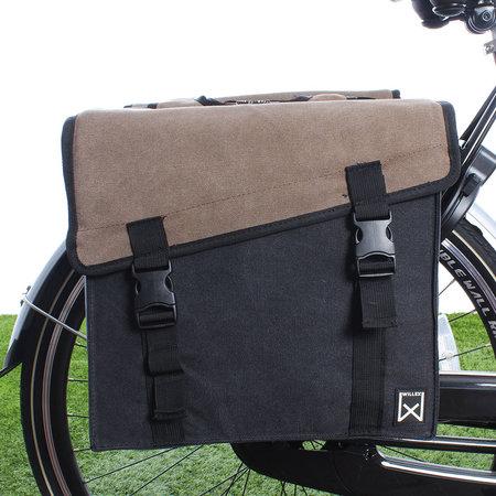 Willex Dubbele fietstas Canvas Tas 101 30L Bruin/Zwart