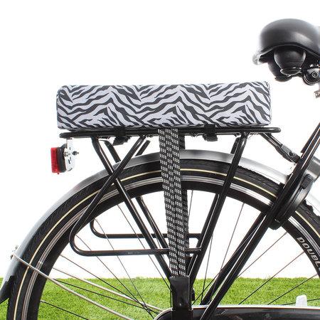 Hooodie Big Cushie Zebra - zacht en dik fietskussen voor op de bagagedrager