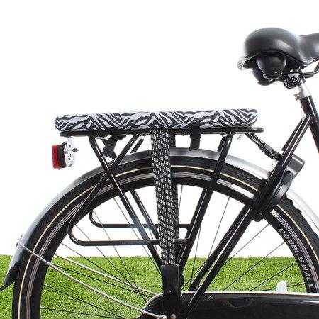 Hooodie Cushie Zebra - zacht fietskussentje voor op bagagedrager