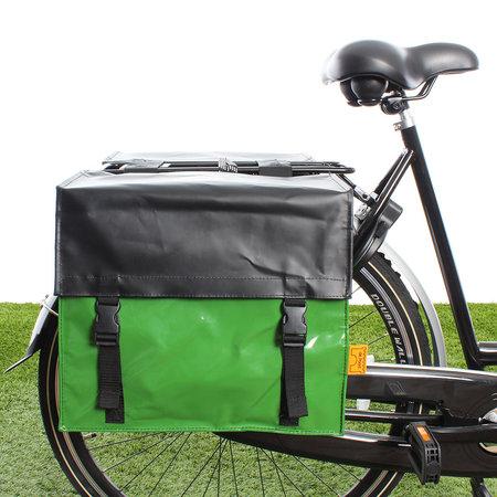 De Poort Dubbele fietstas TwoTone 42L Appelgroen/matzwart (flap)