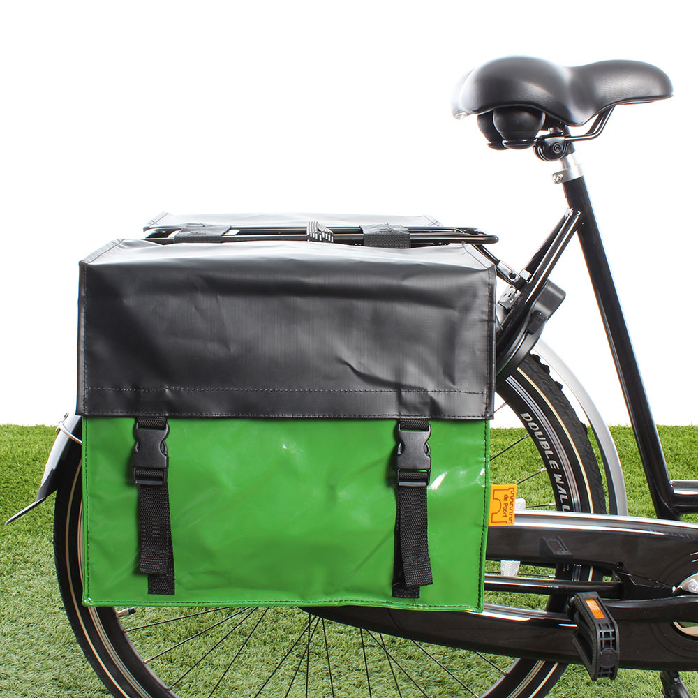 Dubbele fietstas TwoTone 42L Appelgroen/matzwart (flap)