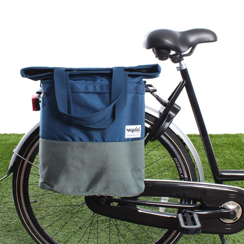 Shopper fietstas 20L Recycled - Blauw/Groen