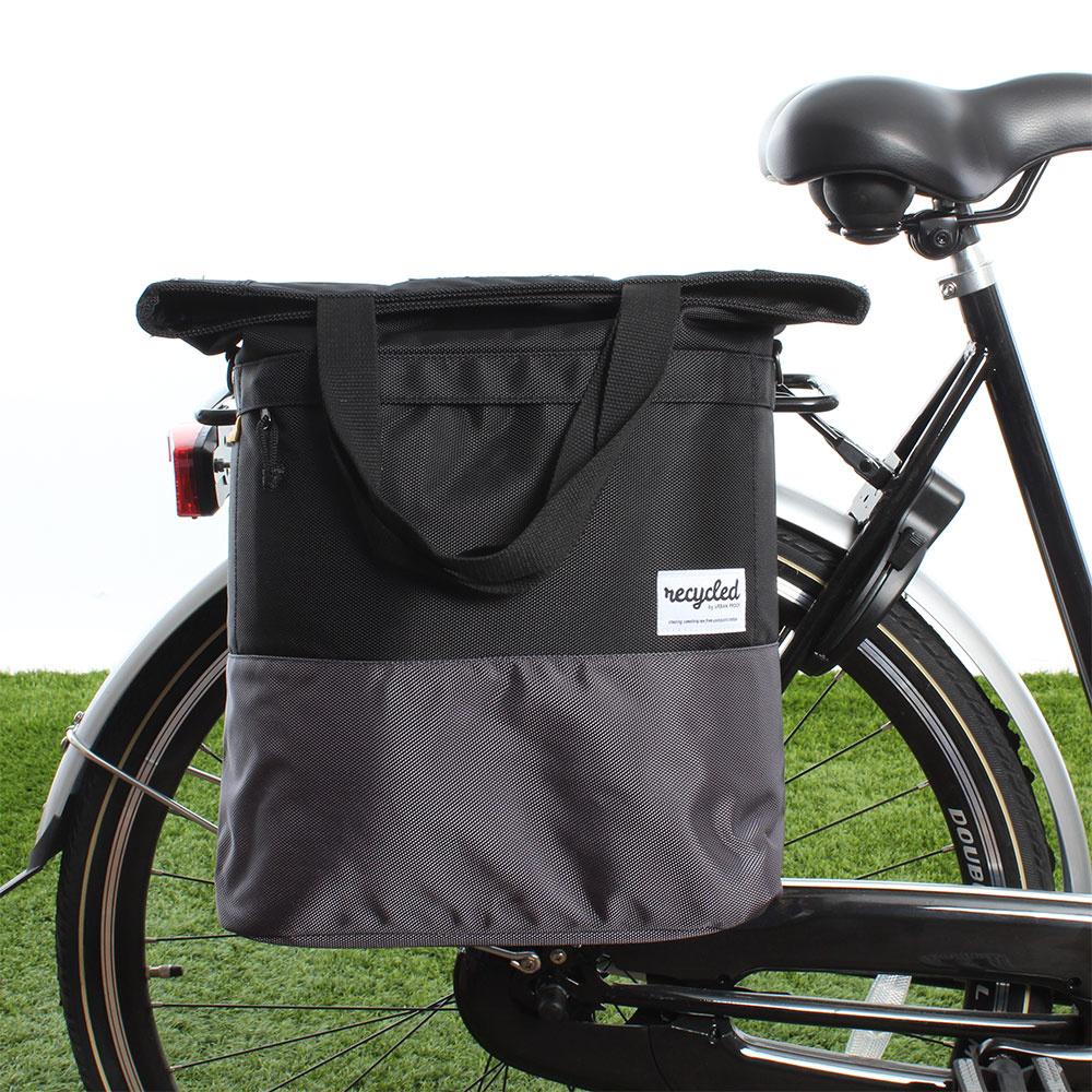 Shopper fietstas 20L Recycled - Zwart/Grijs