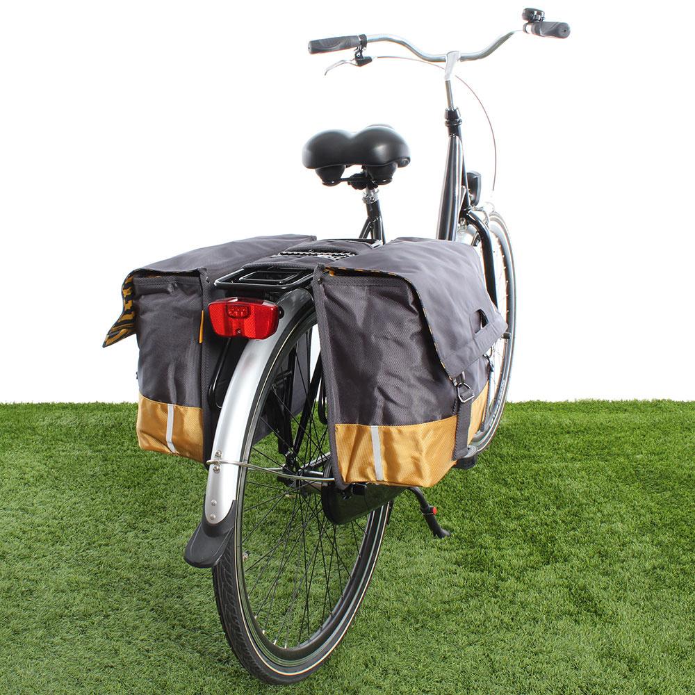 Dubbele fietstas 40L Recycled - Grijs/Geel